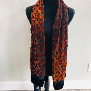 Nordstrom silk scarf orange velvet